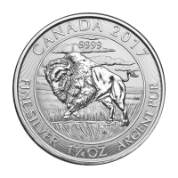 Moneda de plata Bisonte Canadiense 2017 de 1.25 onzas