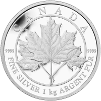 1 kg | kilo 2012 Canadian Maple Leaf Forever Silver Proof Coin