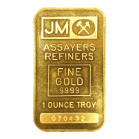 1 oz Johnson Matthey Blank Back with Certificate Gold Bar