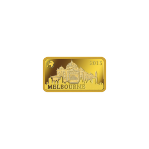 1 g Landmarks of the World | Melbourne Proof Gold Rectangular Coin