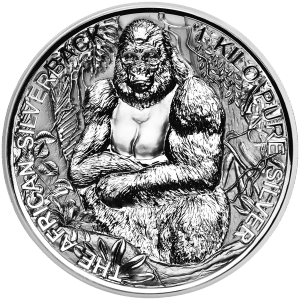 1 kg | kilo 2018 African Silverback Gorilla Double High Relief Reverse Proof Silver Coin
