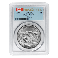 1.25 oz 2015 Canadian Bison PCGS MS69 First Strike Silver Coin