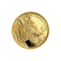 Ronde d'or Tigre de la Corée du Sud 2017 de 1/4 d'once
