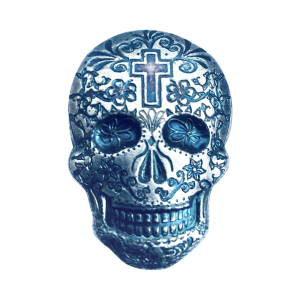 2 oz Monarch Precious Metals Hand Poured Cross Silver Skull