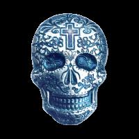 2 oz handgegossener Silbertotenschädel Kreuz Monarch Precious Metals