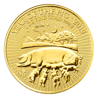 1 oz Goldmünze Jahr des Schweins The Royal Mint Mondserie 2019