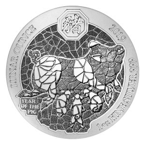 1 oz 2019 Rwanda Lunar Year of the Pig Silver Coin