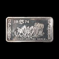 Barra de plata vintage Calgary Stampede 1974 de 1 onza