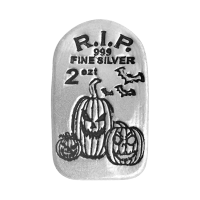 2 oz Monarch Precious Metals Glow in the Dark Jack O Lantern Silver Bar