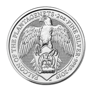 2 oz 2019 Royal Mint Queen's Beasts | Falcon of the Plantagenets Sølvmynt