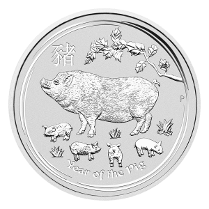1 oz 2019 Perth Mint Lunar Year of the Pig Sølvmynt