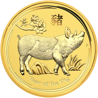1 oz 2019 Perth Mint Lunar Year of the Pig Gullmynt