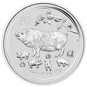 5 oz 2019 Perth Mint Lunar Year of the Pig Sølvmynt