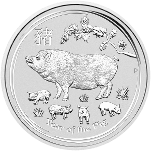 1 kg | kilo 2019 Perth Mint Lunar Year of the Pig Sølvmynt