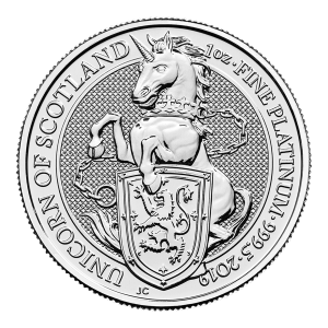 1 oz 2019 Royal Mint Queen's Beasts | Unicorn of Scotland Platinum Coin