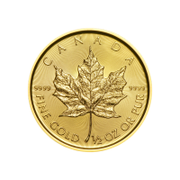 Moneda de oro Hoja de Arce Canadiense 2019 de 1/2 oz