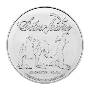 1 oz Silvertowne Prospector Poker Chip Silver Round