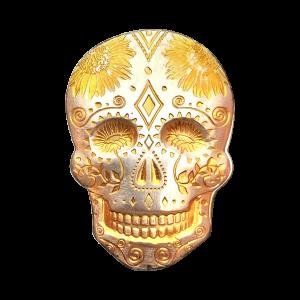 2 oz Monarch Precious Metals 24K Gold Accented Sunflower Silver Skull