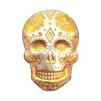2 oz Monarch Precious Metals 24K Gold Accented Sunflower Silver Skull