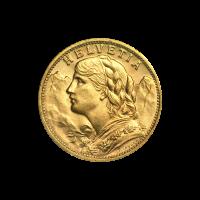 Random Year Helvetia 20 Franc Swiss Gold Coin