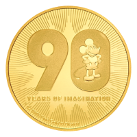 90° Aniversario Disney Mickey Mouse | Moneda de oro 2018 de 1 oz