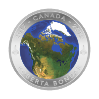 2017 A View of Canada from Space Luminescent Silver Convex Coin