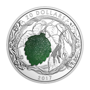 2017 Brilliant Birch Leaves with Drusy Stones Silver Coin