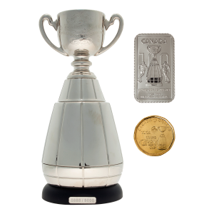 CFL Grey Cup 100th Anniversary Ultimate Fan Set of Pins, Stamps, Loonie, Cup Replica and 1 oz Grey Cup Stamp Silver Bar