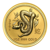 1 oz 2001 Perth Mint Lunar year of the Snake Gold Coin