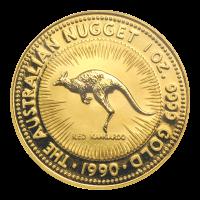 Pièce d'or Kangourou australien en forme de pépite 1990 de 1 once