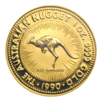 1 oz 1990 Australian Kangaroo Nugget Gold Coin