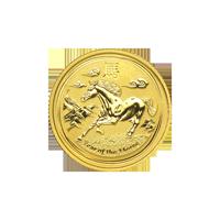 1/10 oz Goldmünze Mondserie Jahr des Pferdes Perth Mint 2014