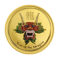 Moneda de Oro coloreada Dragón 2012 de 1/10 oz de la Casa de la Moneda de Perth