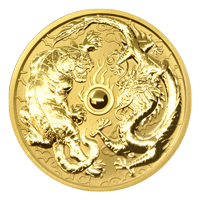 1 oz 2019 Dragon and Tiger Gullmynt