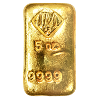 5 oz Johnson Matthey Vintage Hand Poured Gold Bar