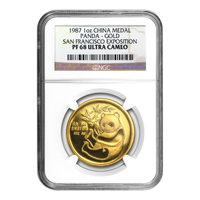 1 oz 1987 Chinese Panda NGC PF-68 Ultra Cameo San Francisco Expo Gold Coin