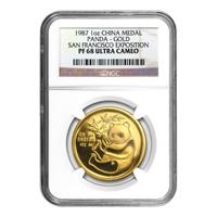 Moneda de oro San Francisco Expo Ultra Cameo PF-68 NGC Panda Chino 1987 de 1 oz