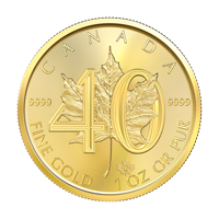 1 oz 2019 Canadian Maple Leaf 40th Anniversary Gold Coin