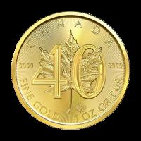 1 أوقية 2019 عملة ذهبية لذكرى الأربعون لورقة القيقب الكندية