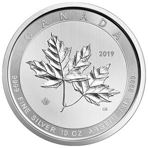 10 oz 2019 Royal Canadian Mint Magnificent Maple Leaves Silver Coin