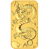 Pièce d'or rectangulaire Dragon de la Perth Mint 2019 de 1 once