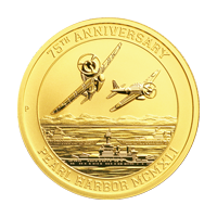 1 oz 2016 Pearl Harbor 75th Anniversary Gold Coin