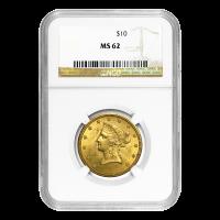 $10 Goldmünze - Freiheitsdame Adler MS-62 - Zufallsjahr