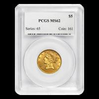 عملة ذهبية لسنة العشوائية 5 دولار لنسر الحرية نصف MS-62