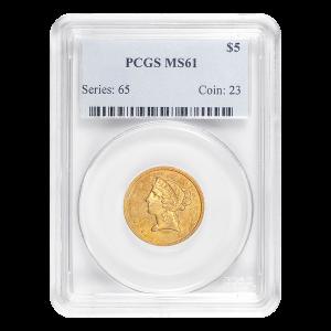 Random Year $5 Liberty Half Eagle MS-61 Gold Coin