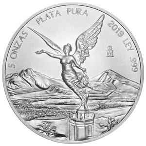 Pièce d'argent Libertad mexicaine 2019 de 5 onces