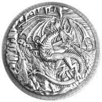 10 oz Monarch Precious Metals Dragon vs Viking Ultra High Relief Silver Round