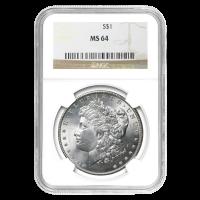1878 - 1904 Morgan Dollar Silbermünze NGC MS-64