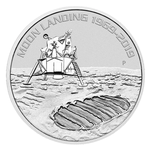1 oz 2019 Perth Mint 50-årsjubileum for Månelandingen Sølvmynt