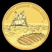 Pièce d'or 50e anniversaire de l'atterrissage sur la lune de la Perth Mint 2019 de 1 once